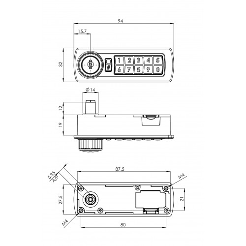 Gemini Digital Combination Lock 3700 Technical Drawing