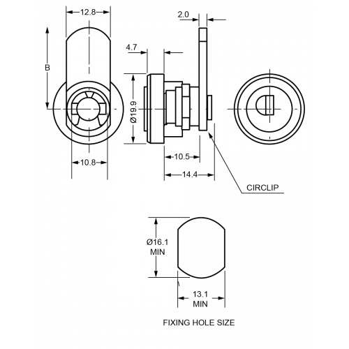 10,5 mm Camlock B254 Technical Drawing