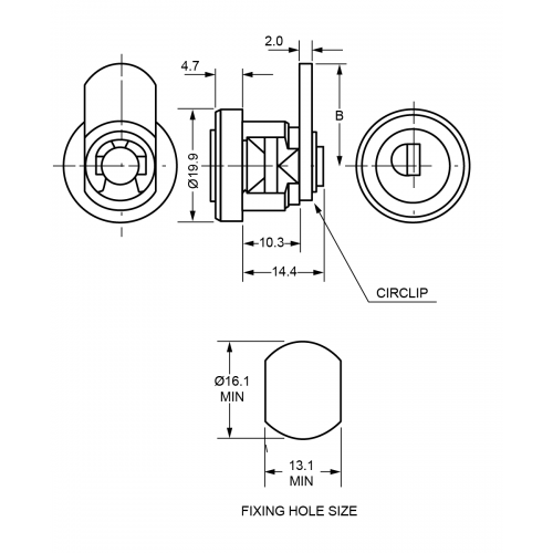 10,3 mm Camlock B525 Technical Drawing