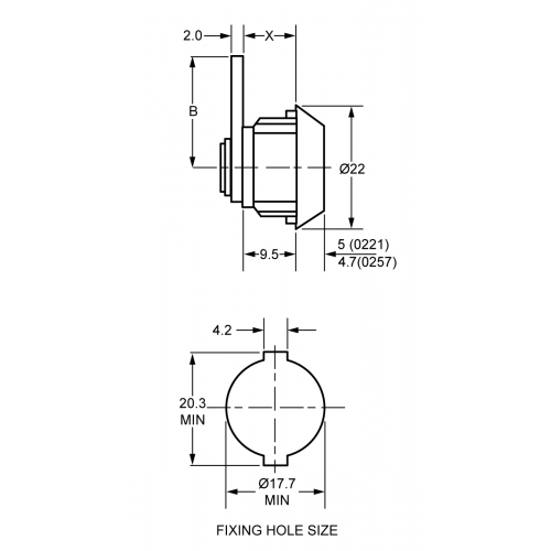 9,5 mm Mini Camlock 0221 Technical Drawing