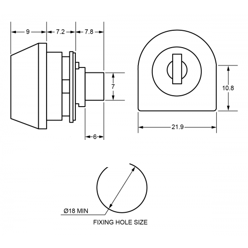 7,2 mm Mini Camlock F501 Technical Drawing