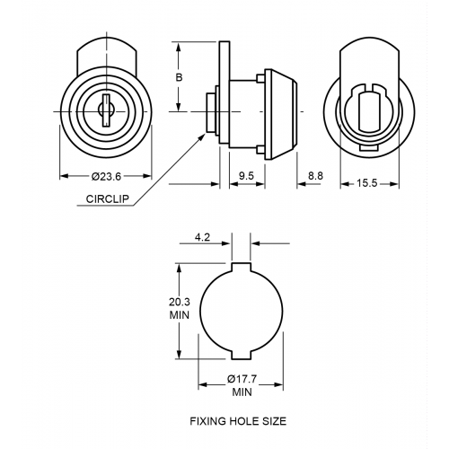 9,5 mm Mini Camlock 1320 Technical Drawing