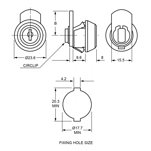 9,6 mm Mini Camlock 1372 Technical Drawing