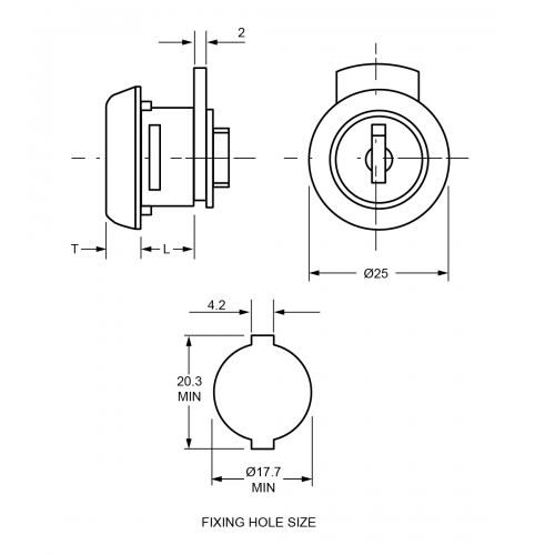 8,1 mm - 9,7 mm Mini Camlock TJ5C Technical Drawing